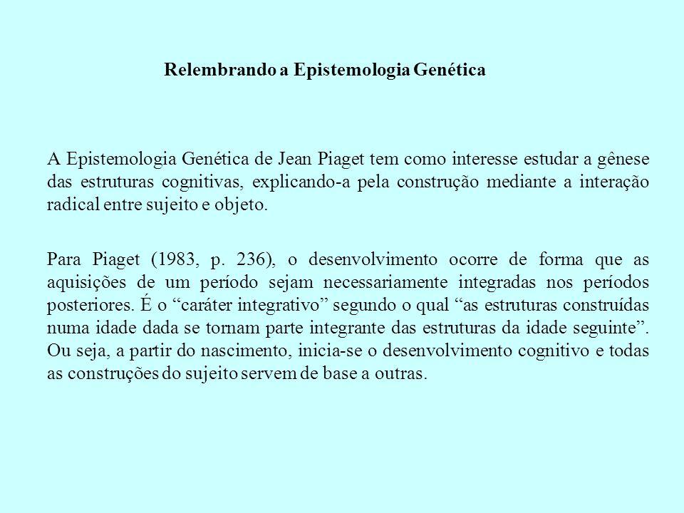 Relembrando a Epistemologia Genética A Epistemologia Genética de Jean Piaget tem como interesse estudar a gênese das estruturas cognitivas, explicando