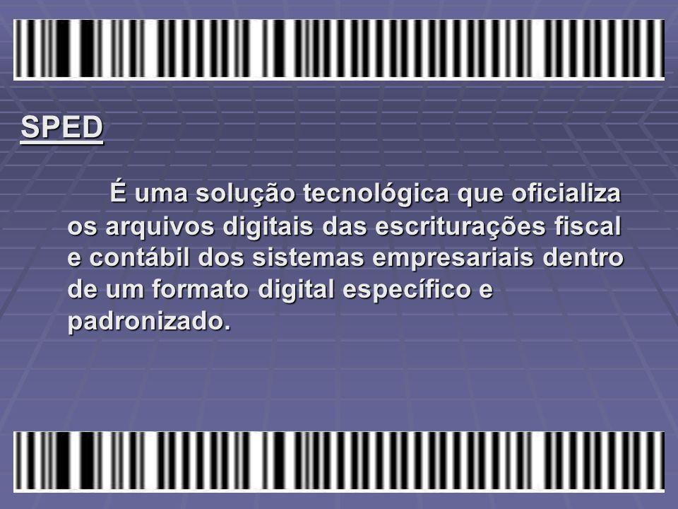 SPED É uma solução tecnológica que oficializa os arquivos digitais das escriturações fiscal e contábil dos sistemas empresariais dentro de um formato