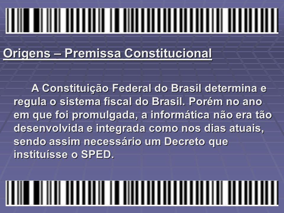 Origens – Premissa Constitucional A Constituição Federal do Brasil determina e regula o sistema fiscal do Brasil. Porém no ano em que foi promulgada,