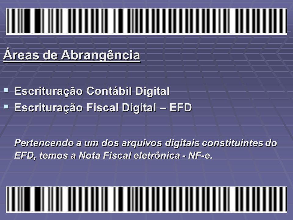 Áreas de Abrangência  Escrituração Contábil Digital  Escrituração Fiscal Digital – EFD Pertencendo a um dos arquivos digitais constituintes do EFD,