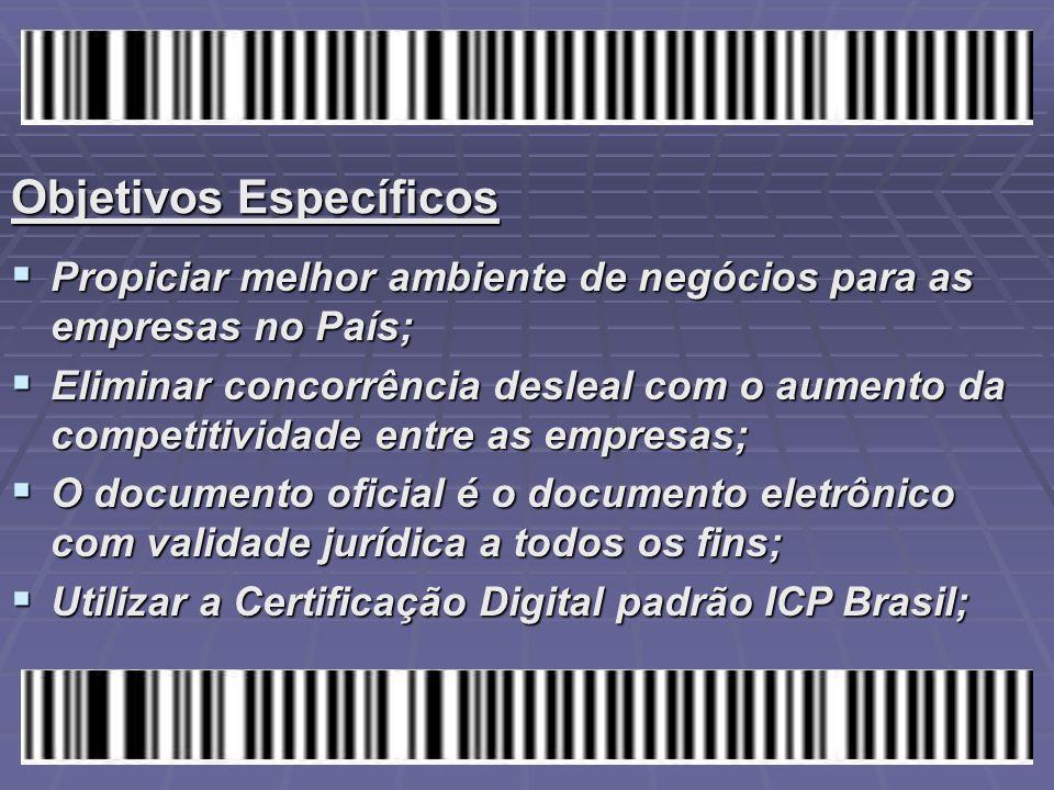 Objetivos Específicos  Propiciar melhor ambiente de negócios para as empresas no País;  Eliminar concorrência desleal com o aumento da competitivida