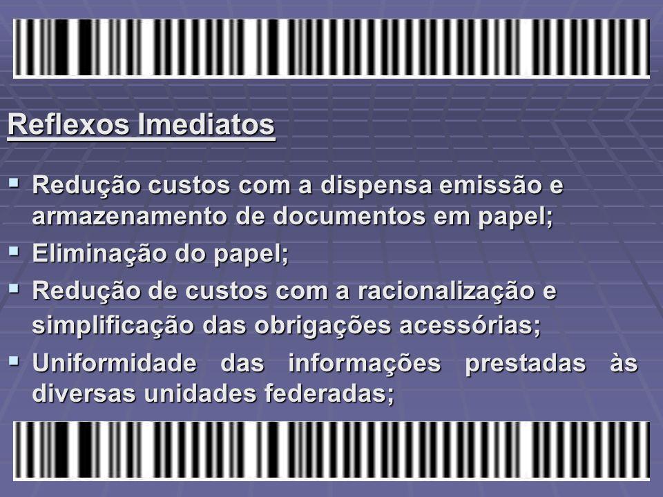 Reflexos Imediatos  Redução custos com a dispensa emissão e armazenamento de documentos em papel;  Eliminação do papel;  Redução de custos com a ra