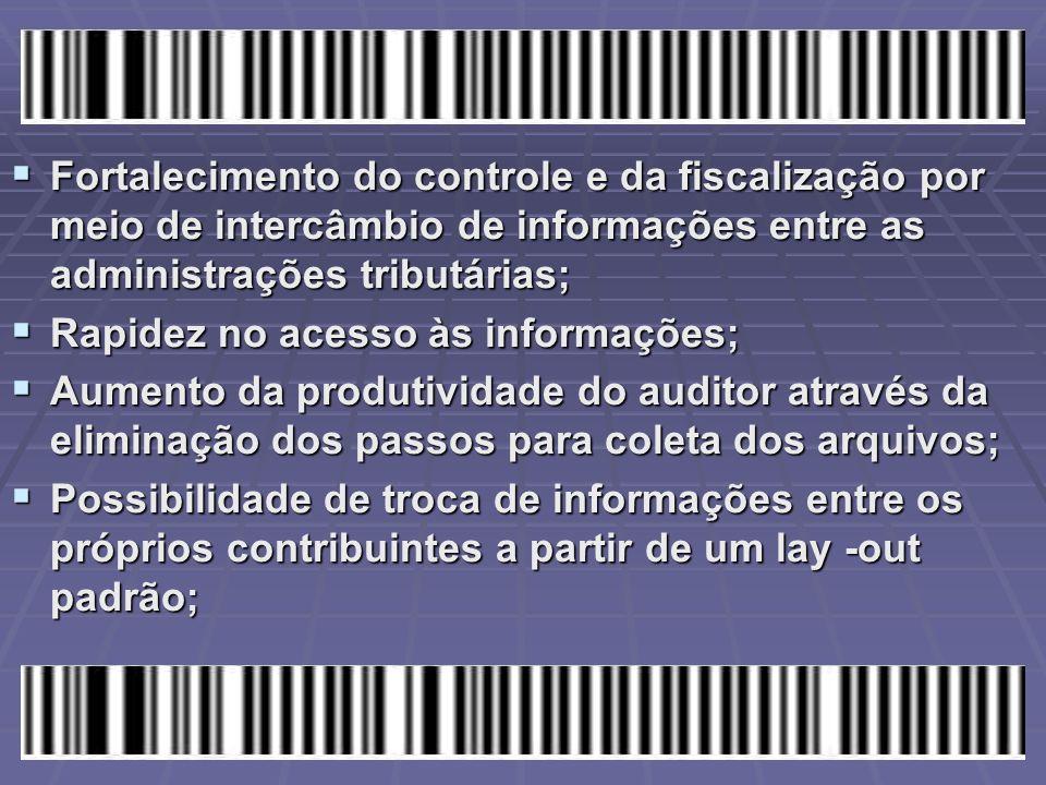  Fortalecimento do controle e da fiscalização por meio de intercâmbio de informações entre as administrações tributárias;  Rapidez no acesso às info