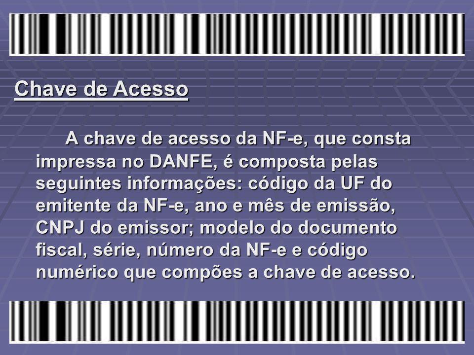 A chave de acesso da NF-e, que consta impressa no DANFE, é composta pelas seguintes informações: código da UF do emitente da NF-e, ano e mês de emissã