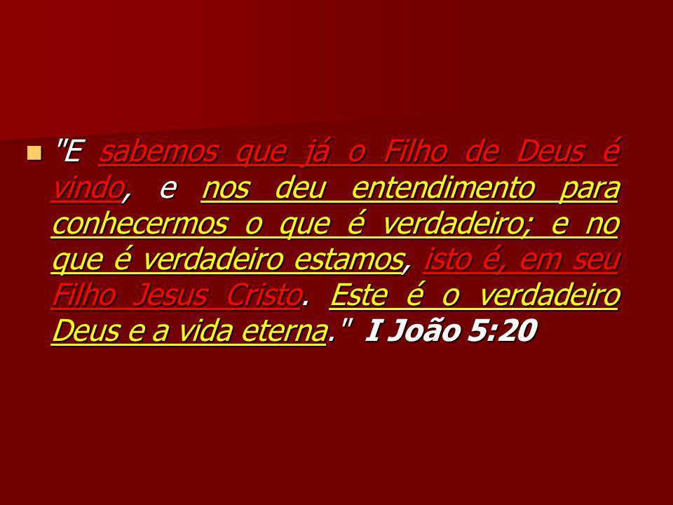 E sabemos que já o Filho de Deus é vindo, e nos deu entendimento para conhecermos o que é verdadeiro; e no que é verdadeiro estamos, isto é, em seu Filho Jesus Cristo.