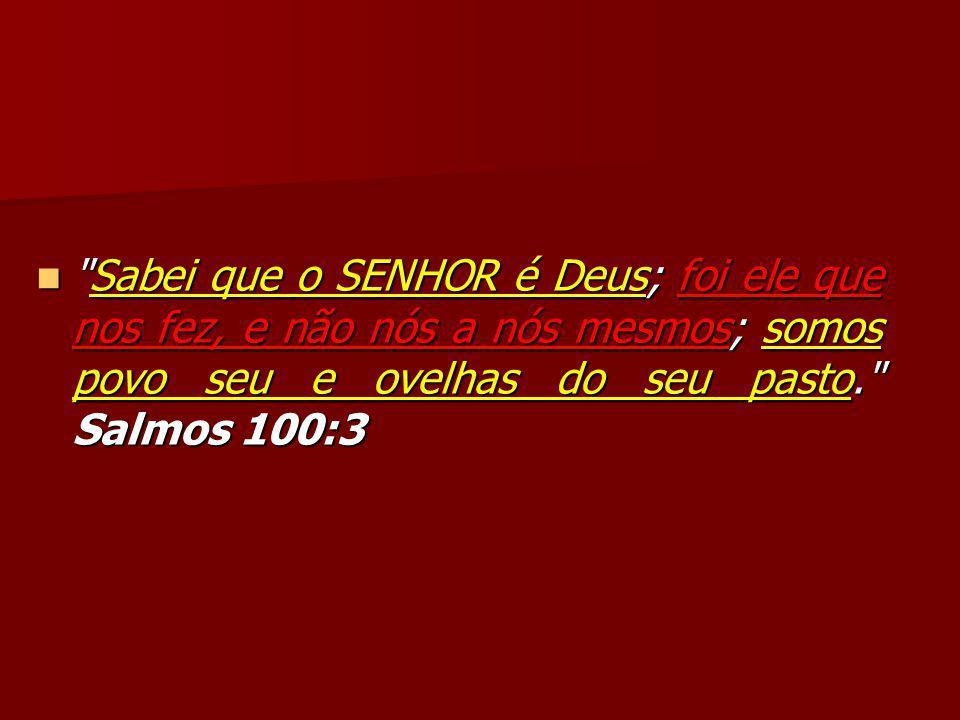 Sabei que o SENHOR é Deus; foi ele que nos fez, e não nós a nós mesmos; somos povo seu e ovelhas do seu pasto. Salmos 100:3 Sabei que o SENHOR é Deus; foi ele que nos fez, e não nós a nós mesmos; somos povo seu e ovelhas do seu pasto. Salmos 100:3