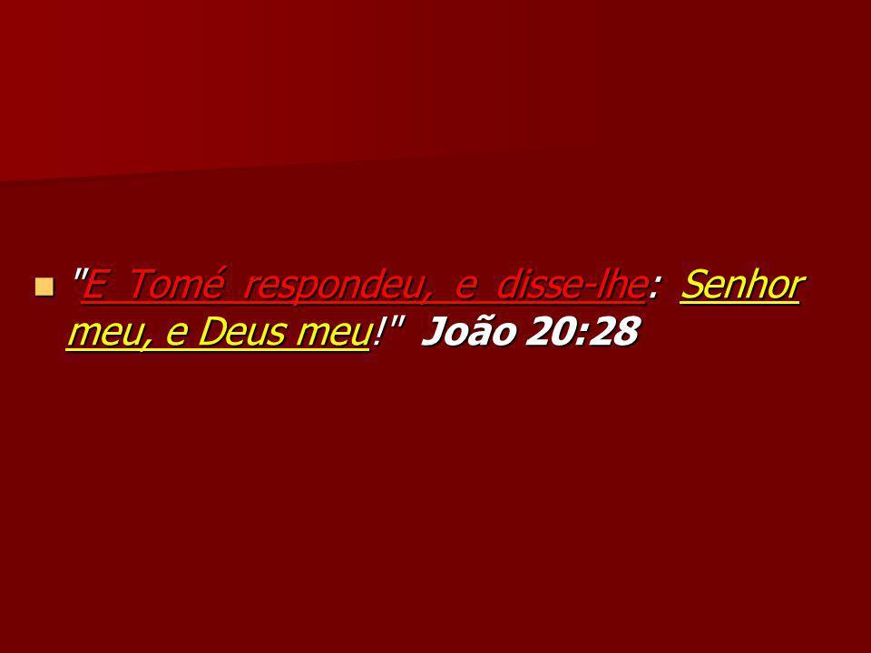 E Tomé respondeu, e disse-lhe: Senhor meu, e Deus meu! João 20:28 E Tomé respondeu, e disse-lhe: Senhor meu, e Deus meu! João 20:28