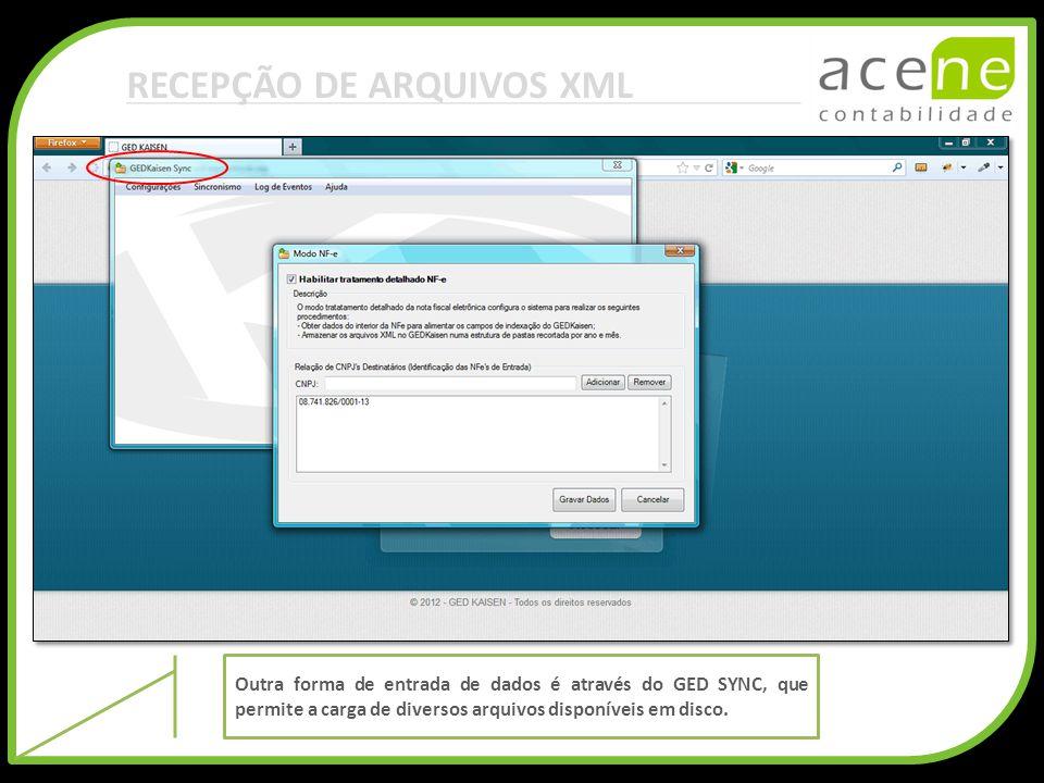 RECEPÇÃO DE ARQUIVOS XML Outra forma de entrada de dados é através do GED SYNC, que permite a carga de diversos arquivos disponíveis em disco.