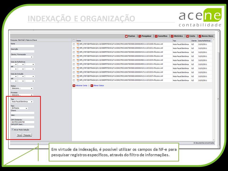 INDEXAÇÃO E ORGANIZAÇÃO Em virtude da indexação, é possível utilizar os campos da NF-e para pesquisar registros específicos, através do filtro de info