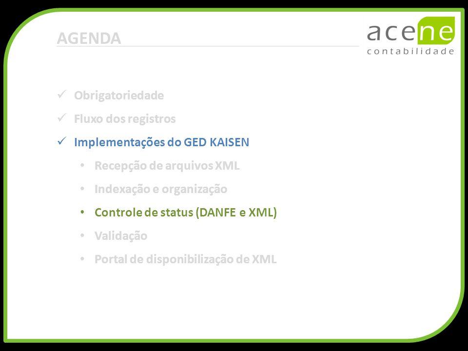 AGENDA Obrigatoriedade Fluxo dos registros Implementações do GED KAISEN Recepção de arquivos XML Indexação e organização Controle de status (DANFE e X