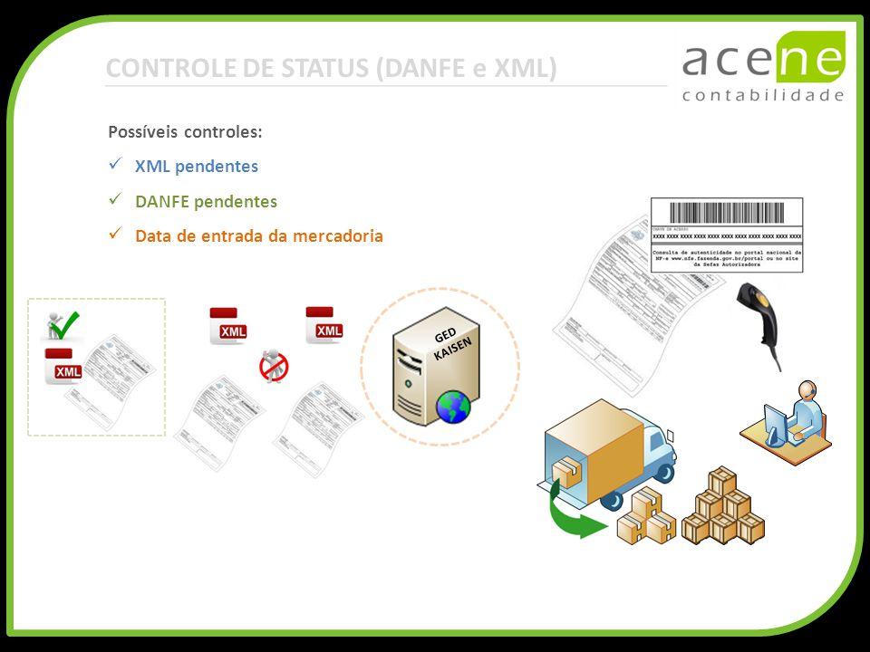 CONTROLE DE STATUS (DANFE e XML) GED KAISEN Possíveis controles: XML pendentes DANFE pendentes Data de entrada da mercadoria