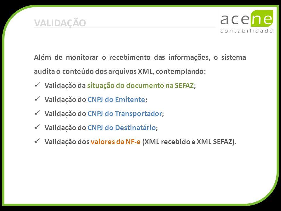 VALIDAÇÃO Além de monitorar o recebimento das informações, o sistema audita o conteúdo dos arquivos XML, contemplando: Validação da situação do docume