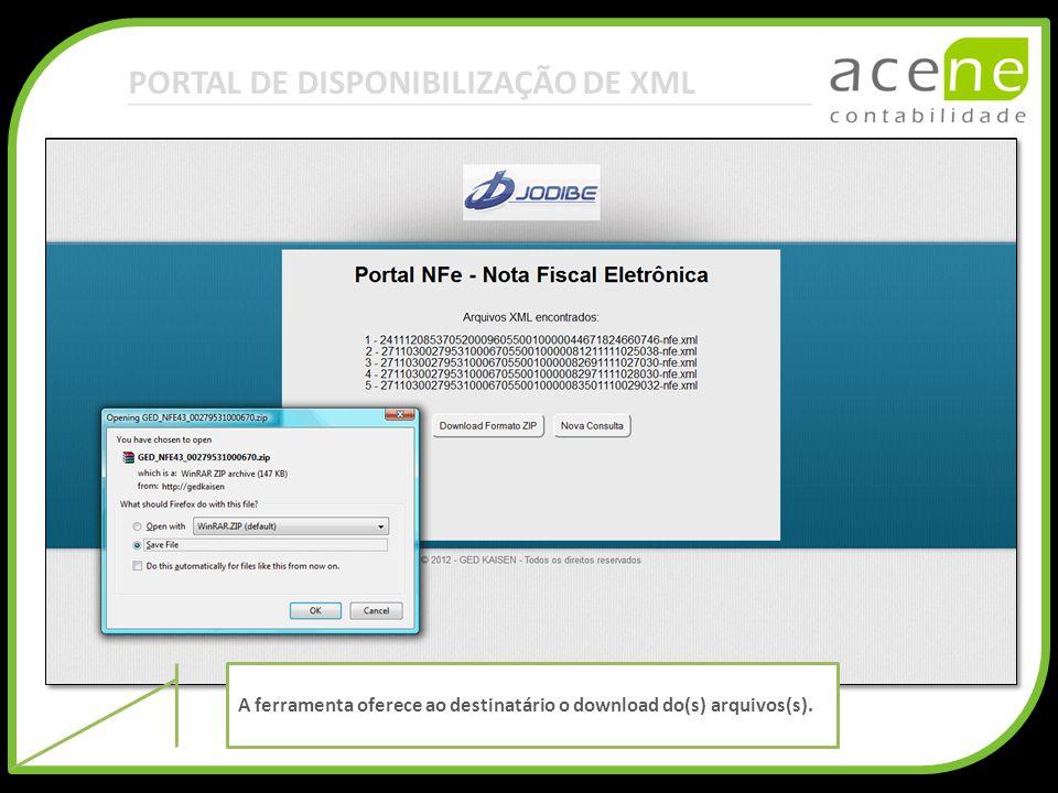PORTAL DE DISPONIBILIZAÇÃO DE XML A ferramenta oferece ao destinatário o download do(s) arquivos(s).
