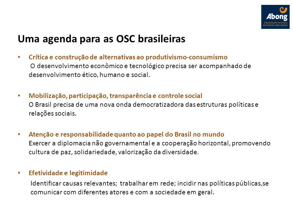 Uma agenda para as OSC brasileiras Crítica e construção de alternativas ao produtivismo-consumismo O desenvolvimento econômico e tecnológico precisa s