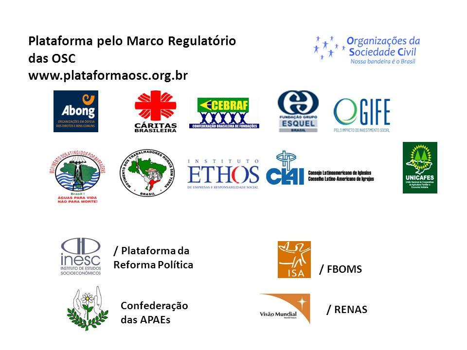 Os compromissos da Presidenta Dilma com a Plataforma Ainda na campanha presidencial Dilma prometeu montar um GT com participação da sociedade civil para elaborar o novo marco regulatório e políticas de fomento no primeiro ano de governo Graças ao empenho da SGPR, o grupo foi montado e produziu um conjunto de propostas (primeiro semestre de 2012).
