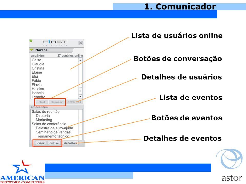 1.Comunicador Basta clicar em um nome, que abre uma tela de comunicação.