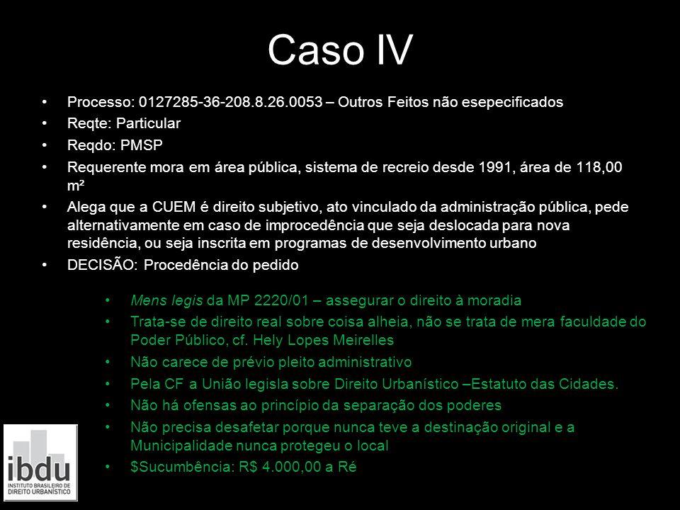 Caso IV Processo: 0127285-36-208.8.26.0053 – Outros Feitos não esepecificados Reqte: Particular Reqdo: PMSP Requerente mora em área pública, sistema d