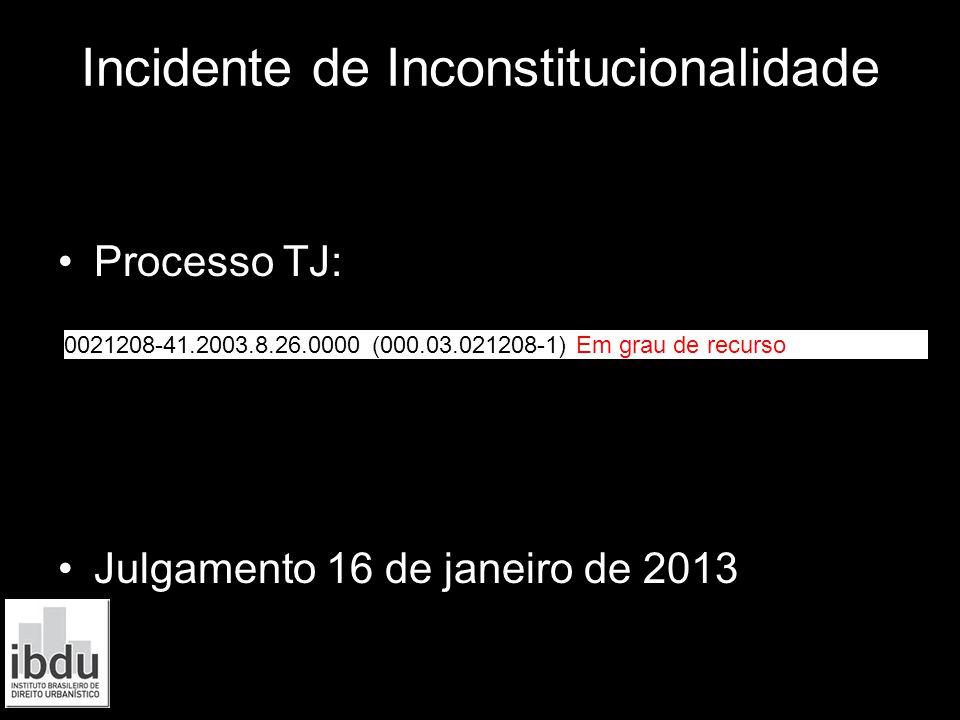 Incidente de Inconstitucionalidade Processo TJ: Julgamento 16 de janeiro de 2013 0021208-41.2003.8.26.0000 (000.03.021208-1) Em grau de recurso