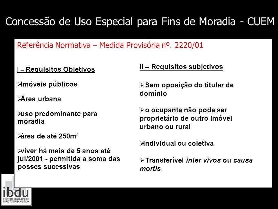 Referência Normativa – Medida Provisória nº. 2220/01 I – Requisitos Objetivos  Imóveis públicos  Área urbana  uso predominante para moradia  área