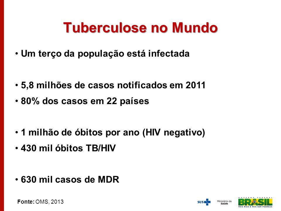 Tuberculose no Mundo Um terço da população está infectada 5,8 milhões de casos notificados em 2011 80% dos casos em 22 países 1 milhão de óbitos por a