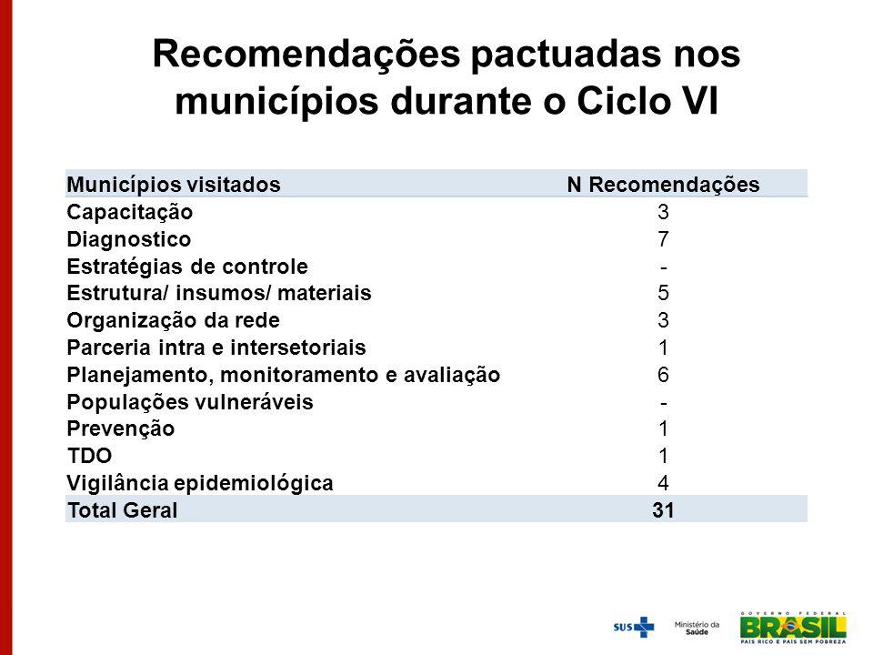 Recomendações pactuadas nos municípios durante o Ciclo VI Municípios visitadosN Recomendações Capacitação3 Diagnostico7 Estratégias de controle- Estru