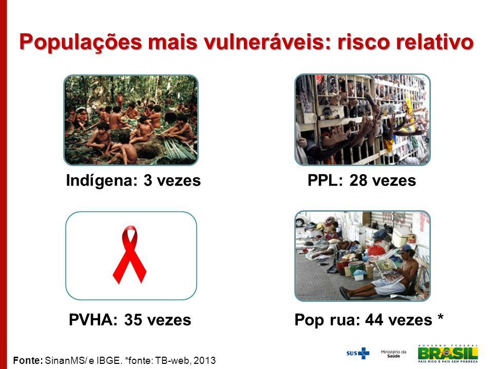 Populações mais vulneráveis: risco relativo Fonte: SinanMS/ e IBGE. *fonte: TB-web, 2013 Indígena: 3 vezesPPL: 28 vezes PVHA: 35 vezesPop rua: 44 veze