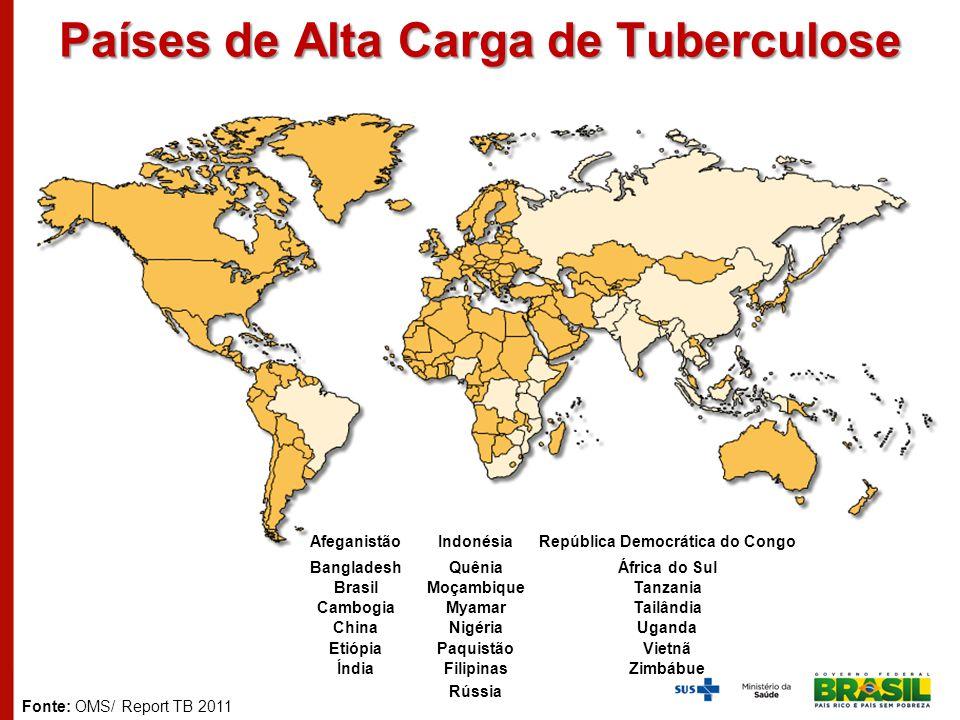 Países de Alta Carga de Tuberculose AfghanistanIndiaPhilippines BangladeshIndonesiaRussian Federation BrazilKenyaSouth Africa CambodiaMozambiqueTanzan