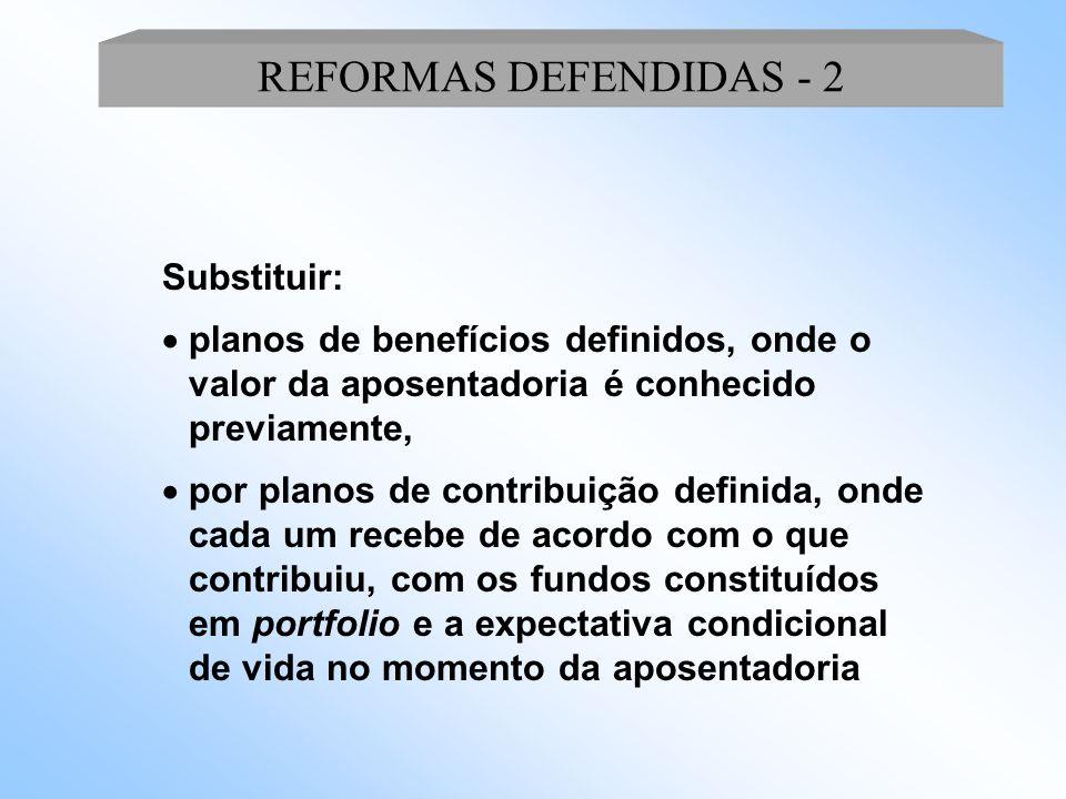 Substituir:  Regimes financeiros de repartição, onde a arrecadação financia os atuais benefícios,  pelos de capitalização, onde são constituídos fundos, incrementar a ação dos mercados de capitais e tentar incentivar o crescimento econômico; REFORMAS DEFENDIDAS - 1
