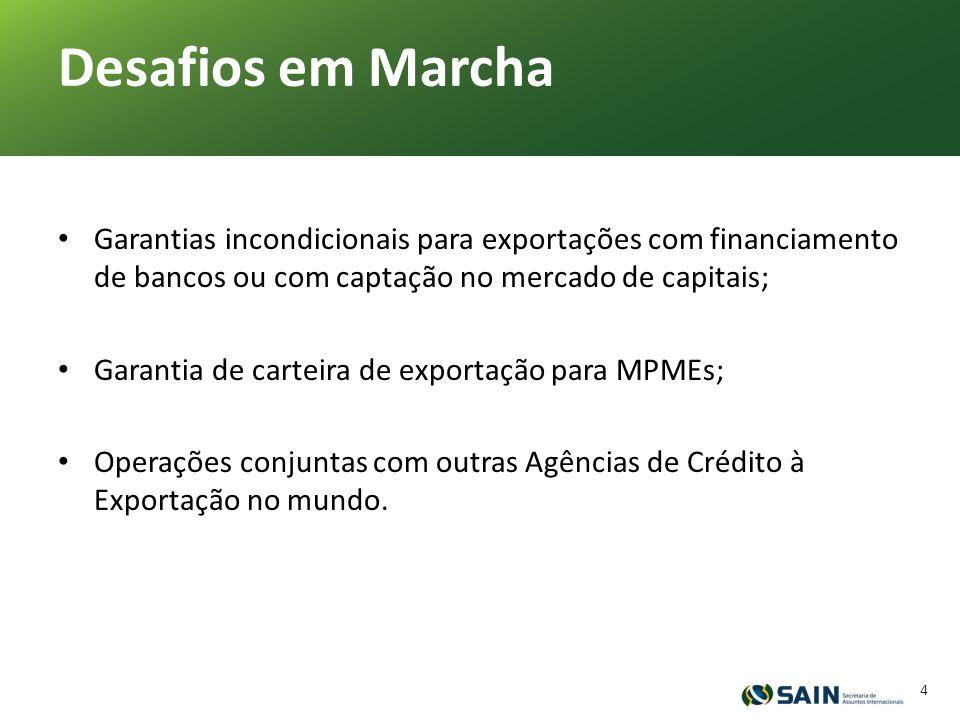 Garantias incondicionais para exportações com financiamento de bancos ou com captação no mercado de capitais; Garantia de carteira de exportação para MPMEs; Operações conjuntas com outras Agências de Crédito à Exportação no mundo.