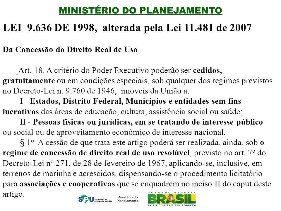 MINISTÉRIO DO PLANEJAMENTO LEI 9.636 DE 1998, alterada pela Lei 11.481 de 2007 Da Concessão do Direito Real de Uso Art.