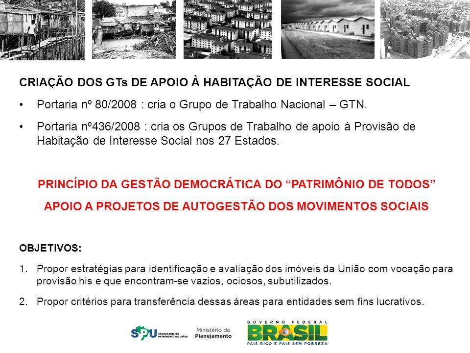 MINISTÉRIO DO PLANEJAMENTO CRIAÇÃO DOS GTs DE APOIO À HABITAÇÃO DE INTERESSE SOCIAL Portaria nº 80/2008 : cria o Grupo de Trabalho Nacional – GTN.