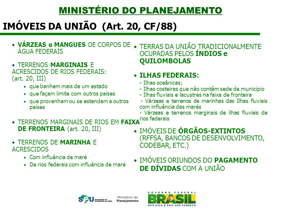 MINISTÉRIO DO PLANEJAMENTO LEI 9.636 DE 1998, alterada pela Lei 11.481 de 2007 Doação Art.