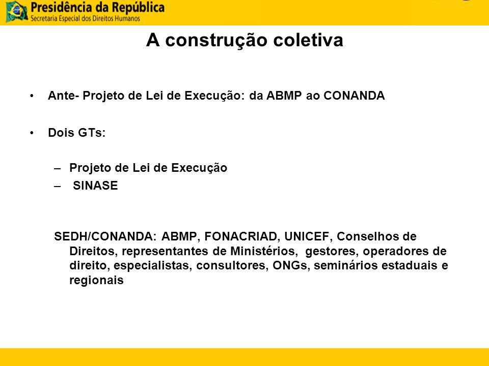 A construção coletiva Ante- Projeto de Lei de Execução: da ABMP ao CONANDA Dois GTs: –Projeto de Lei de Execução – SINASE SEDH/CONANDA: ABMP, FONACRIA