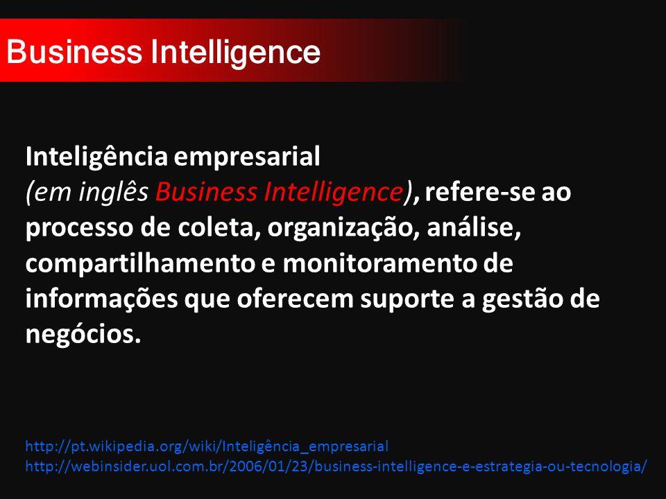Business Intelligence http://pt.wikipedia.org/wiki/Inteligência_empresarial http://webinsider.uol.com.br/2006/01/23/business-intelligence-e-estrategia-ou-tecnologia/ Inteligência empresarial (em inglês Business Intelligence), refere-se ao processo de coleta, organização, análise, compartilhamento e monitoramento de informações que oferecem suporte a gestão de negócios.