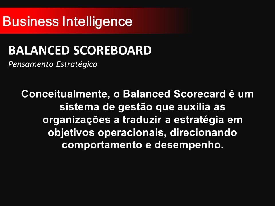 Business Intelligence BALANCED SCOREBOARD Pensamento Estratégico Conceitualmente, o Balanced Scorecard é um sistema de gestão que auxilia as organizações a traduzir a estratégia em objetivos operacionais, direcionando comportamento e desempenho.