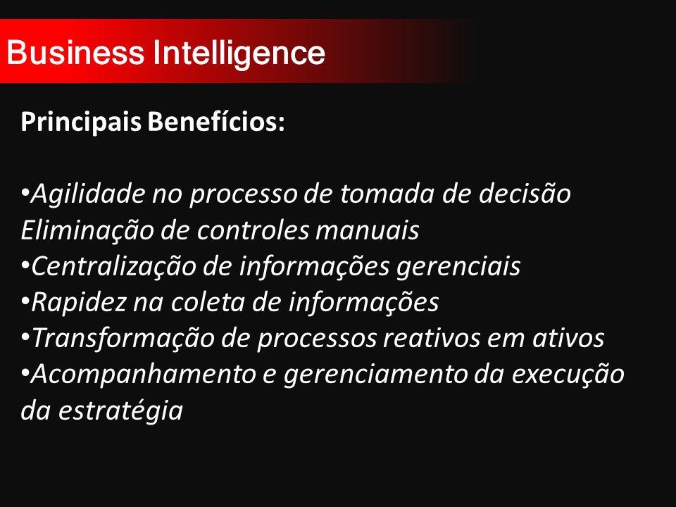 Business Intelligence Principais Benefícios: Agilidade no processo de tomada de decisão Eliminação de controles manuais Centralização de informações gerenciais Rapidez na coleta de informações Transformação de processos reativos em ativos Acompanhamento e gerenciamento da execução da estratégia