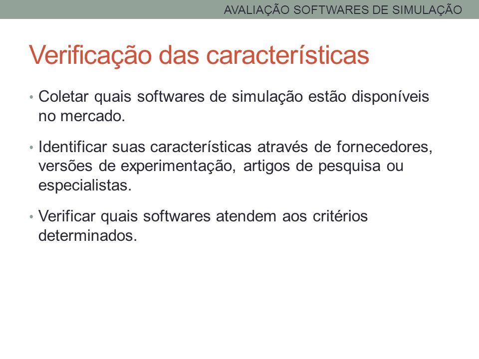 Verificação das características Coletar quais softwares de simulação estão disponíveis no mercado. Identificar suas características através de fornece