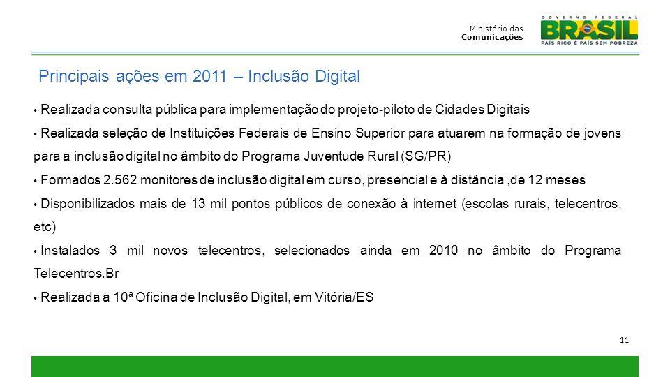 Ministério das Comunicações 11 Principais ações em 2011 – Inclusão Digital Realizada consulta pública para implementação do projeto-piloto de Cidades