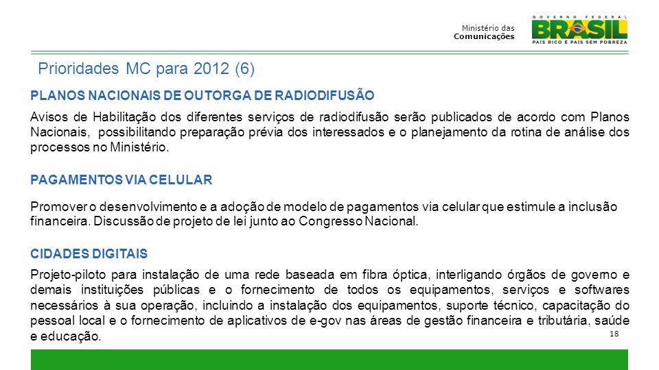 PLANOS NACIONAIS DE OUTORGA DE RADIODIFUSÃO Avisos de Habilitação dos diferentes serviços de radiodifusão serão publicados de acordo com Planos Nacion