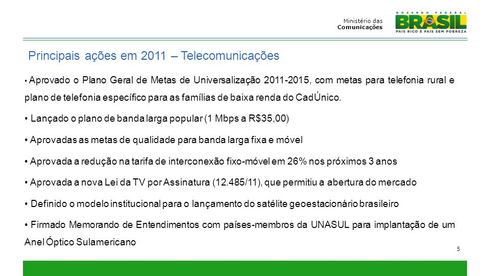 Ministério das Comunicações 5 Principais ações em 2011 – Telecomunicações Aprovado o Plano Geral de Metas de Universalização 2011-2015, com metas para