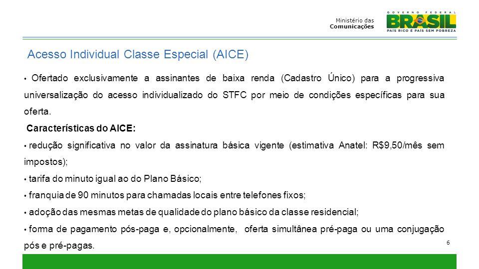 Ministério das Comunicações 6 Acesso Individual Classe Especial (AICE) Ofertado exclusivamente a assinantes de baixa renda (Cadastro Único) para a pro