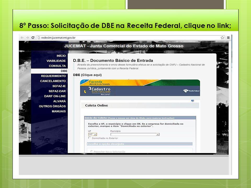 8º Passo: Solicitação de DBE na Receita Federal, clique no link;