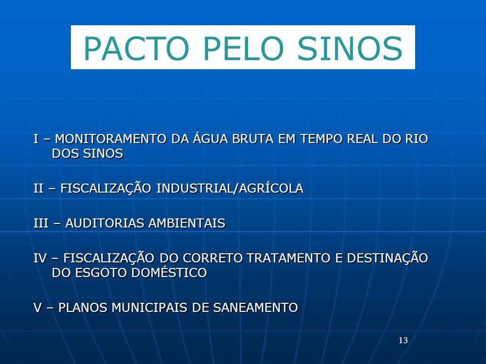 I – MONITORAMENTO DA ÁGUA BRUTA EM TEMPO REAL DO RIO DOS SINOS II – FISCALIZAÇÃO INDUSTRIAL/AGRÍCOLA III – AUDITORIAS AMBIENTAIS IV – FISCALIZAÇÃO DO CORRETO TRATAMENTO E DESTINAÇÃO DO ESGOTO DOMÉSTICO V – PLANOS MUNICIPAIS DE SANEAMENTO 13 PACTO PELO SINOS