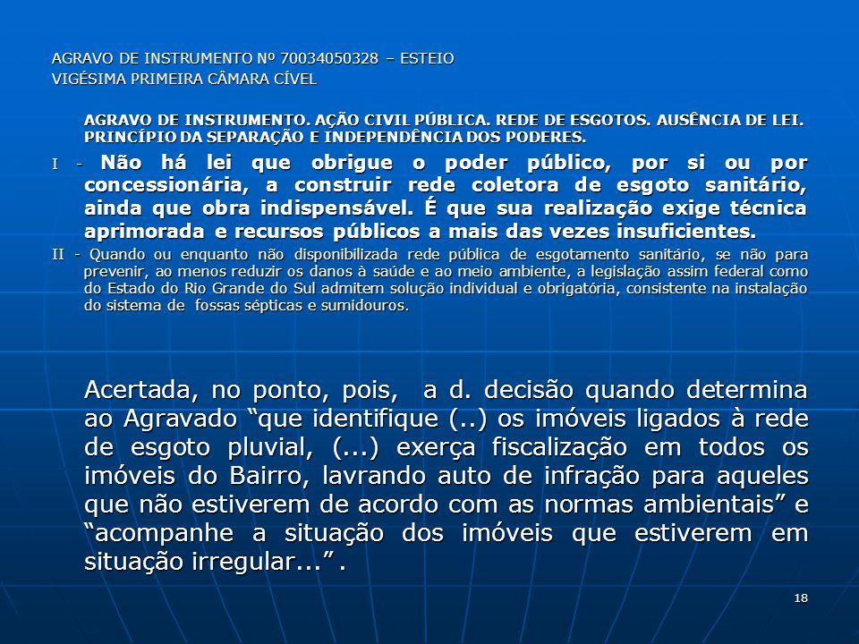 AGRAVO DE INSTRUMENTO Nº 70034050328 – ESTEIO VIGÉSIMA PRIMEIRA CÂMARA CÍVEL AGRAVO DE INSTRUMENTO.