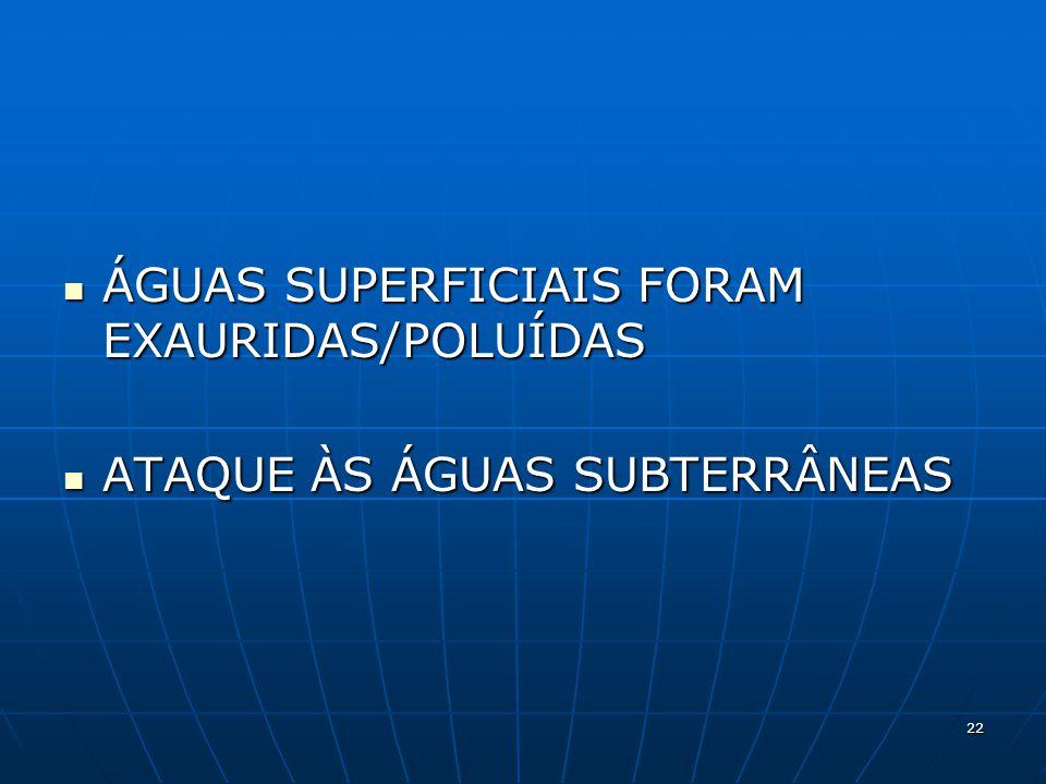 ÁGUAS SUPERFICIAIS FORAM EXAURIDAS/POLUÍDAS ÁGUAS SUPERFICIAIS FORAM EXAURIDAS/POLUÍDAS ATAQUE ÀS ÁGUAS SUBTERRÂNEAS ATAQUE ÀS ÁGUAS SUBTERRÂNEAS 22