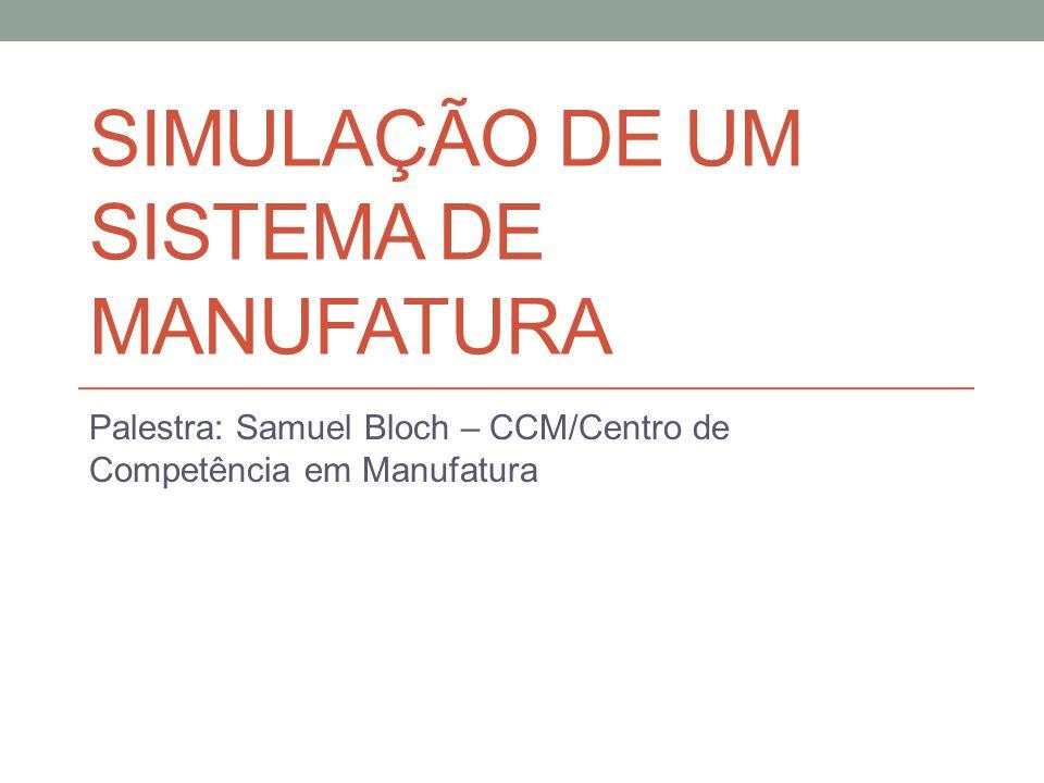 SIMULAÇÃO DE UM SISTEMA DE MANUFATURA Palestra: Samuel Bloch – CCM/Centro de Competência em Manufatura