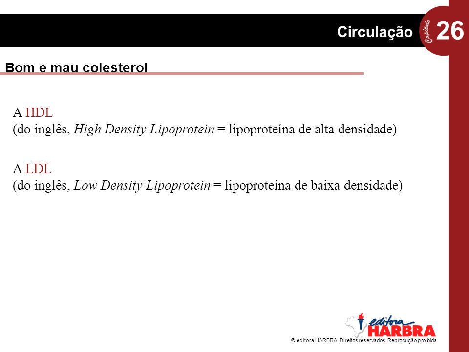 26 Circulação © editora HARBRA. Direitos reservados. Reprodução proibida. Bom e mau colesterol A LDL (do inglês, Low Density Lipoprotein = lipoproteín