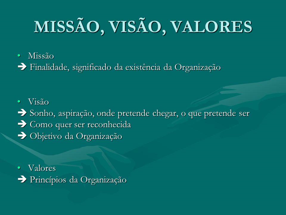MISSÃO, VISÃO, VALORES MissãoMissão  Finalidade, significado da existência da Organização VisãoVisão  Sonho, aspiração, onde pretende chegar, o que pretende ser  Como quer ser reconhecida  Objetivo da Organização ValoresValores  Princípios da Organização