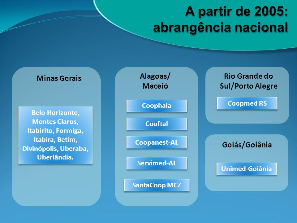 A partir de 2005: abrangência nacional Alagoas/ Maceió Rio Grande do Sul/Porto Alegre Belo Horizonte, Montes Claros, Itabirito, Formiga, Itabira, Beti