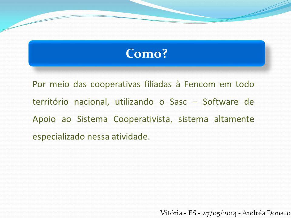 Por meio das cooperativas filiadas à Fencom em todo território nacional, utilizando o Sasc – Software de Apoio ao Sistema Cooperativista, sistema alta